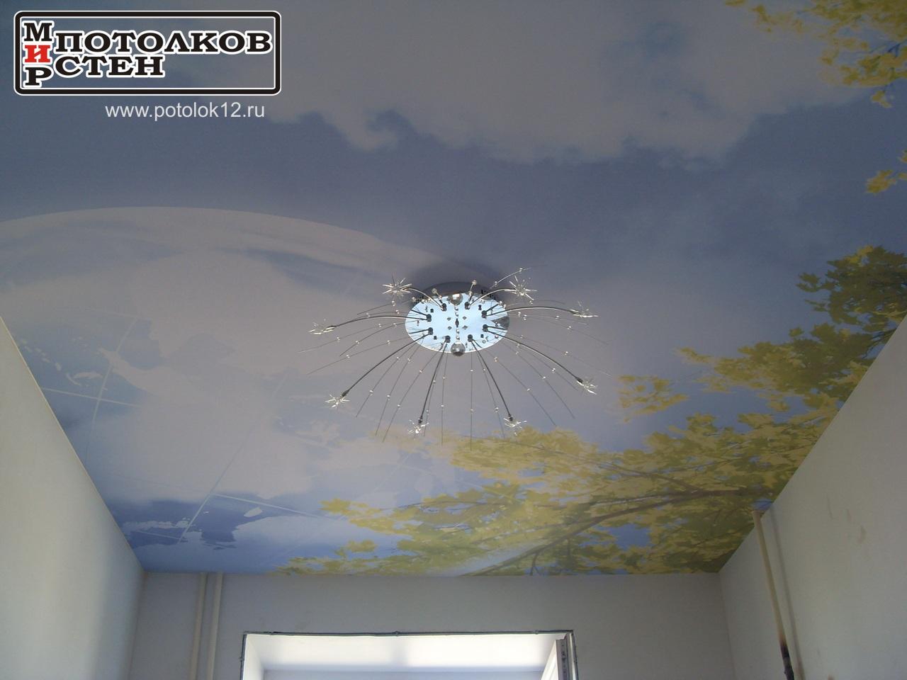 Потолок Йошкар-Ола, фотопечать неба с листьями